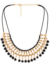 Black And Gold Beaded Necklace - Voylla