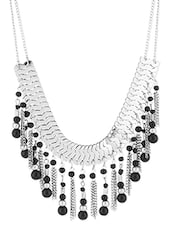 Silver Metallic Necklace With Black Beads - Voylla