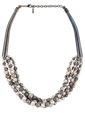 Grey Layered Statement Necklace - Voylla