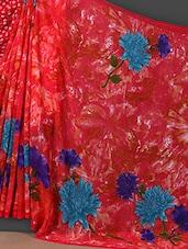 Dahlia Flower Printed Art Silk Saree - Nanda Silk Mills