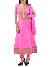 Pink Cotton Semi-stitched Dress Material - By