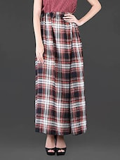 Poly Crepe Polka-Dots Printed Sleeveless Top & Checks Printed Long Skirt - Klick2Style