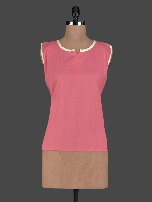 Peach Sleeveless Cotton Short Kurti - Kiala