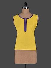 Round Neck Sleeveless Cotton Short Kurti - Kiala - 1118076