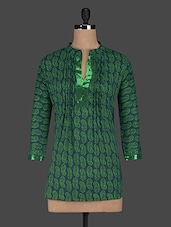 Sequin, Paisley Printed Cotton Short Kurti - Kiala