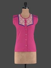 Pink Round Neck Cotton Top - Klick2Style