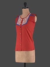 Red Round Neck Cotton Top - Klick2Style
