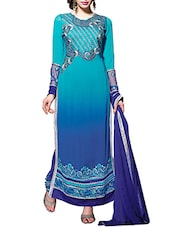 Intriguing Blue Pure Georgette Straight  Dress Material - By