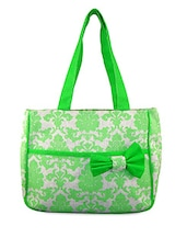 Green And White Printed Jute Bag - ANGES BAGS