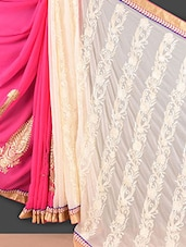 Cream And Pink Embroidered Georgette Saree - Style Mania
