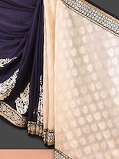 Cream And Navy Blue Embroidered Jacquard Saree - Style Mania
