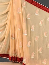 Beige Paisley Embroidered Chiffon Saree - Style Mania - 1118154