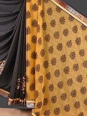 Dark Grey And Yellow Jacquard Saree - Style Mania