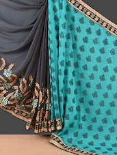 Dark Grey And Teal Embroidered Jacquard Saree - Style Mania