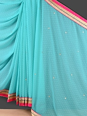 Light Blue Floral Embroidered Saree - Style Mania