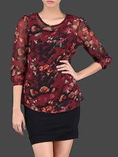 Sheer Floral Printed Polygeorgette Top - Thegudlook