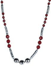 Silver Necklace With Red Acrylic Beads - By