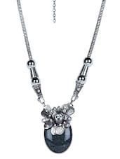 Oxidized Silver Necklace With Grey Stone - Jewel Paradise