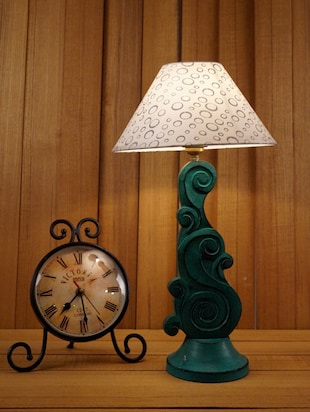 "GREEN CARVING TABLE LAMP WITH 10"" PYRAMID SHADE -  online shopping for Decorative"