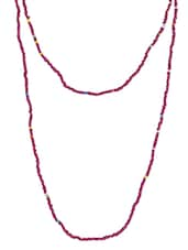 Red Beaded Long Necklace - By
