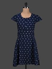 Butter Printed Cap Sleeves Crepe Dress - Kwardrobe