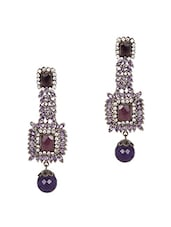 Purple Stone Embellished Earrings - Honey Collections- By Aryan