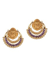 Purple Stone Embellished Chandbalis - Honey Collections- By Aryan