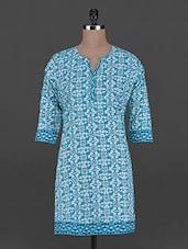 Blue And White Printed Cotton Kurta - Taaga