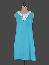 Sleeveless Lace Neck Patch Dress - Wildrose