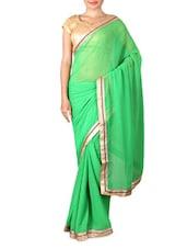Green Chiffon Saree With Gold Border - By