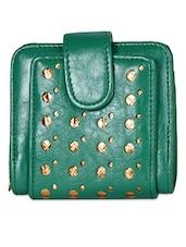 Green Cut-work Leatherette Wallet - Hotberries