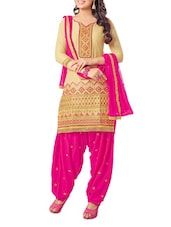 Beige And Pink Embroidered Unstitched Suit Set - Fabdeal
