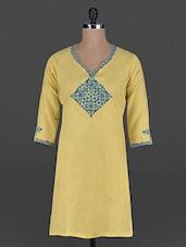 Quarter Sleeves Embroidered Neck Yellow Kurta - BBG