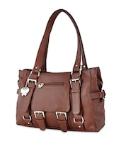 Brown Leatherette Handbag With Buckled Detailing - By - 1122252