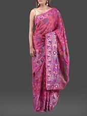 Magenta Jacquard Chanderi Cotton Banarasi Saree - Bunkar
