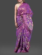 Purple Jacquard Chanderi Cotton Banarasi Saree - Bunkar