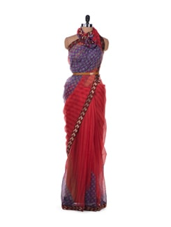 Polka And Stripe Fusion Saree In Red - ROOP KASHISH