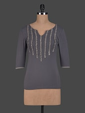 Three Quarter Sleeves Plain Viscose Top - Glam And Luxe