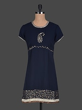 Round Neck Sequin Work Georgette Kurti - Glam And Luxe