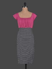 Mega Sleeves Stripes Printed Viscose Dress - Glam And Luxe