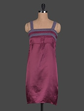 Square Neck Plain Polyester Dress - Glam And Luxe