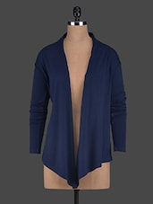 Long Sleeves Navy Blue Viscose Long Shrug - Glam And Luxe