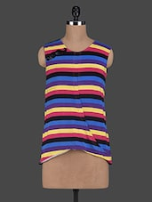 Round Neck Stripes Printed Viscose Tops - Glam And Luxe