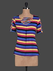 Shorts Sleeves Stripes Printed Viscose Tops - Glam And Luxe