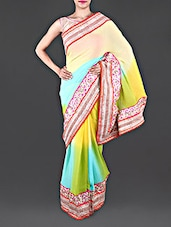 Embroidered Border Ombre Georgette Saree - Shree Mahi Creation