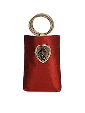 Maroon Embellished Bangle Style Potli Pouch - Lass Lee