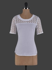 Lace Yoke Short Sleeves Round Neck Cotton Top - ABITI BELLA