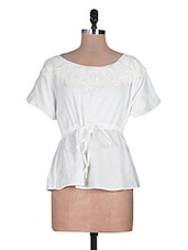 White Trimmed Lace Draw String Laced Cotton Top - URBAN RELIGION