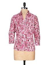 Pink Printed Sequin Worked Cotton Top - URBAN RELIGION