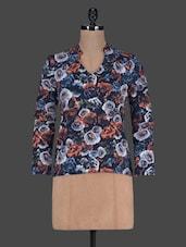 Floral Printed Long Sleeves Polycrepe Top - Harpa